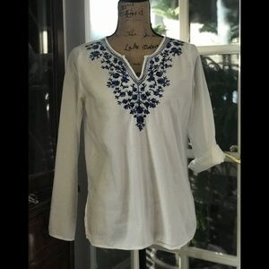 Blouse with blue embroidery